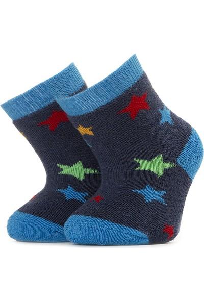 Ciorap Bebek Mavi Yıldız Desenli Havlu Çorap 1411