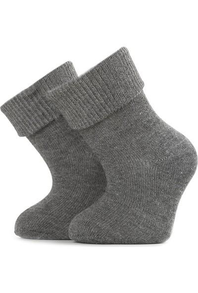 Ciorap Bebek Kıvrık Lastik Gri Çorap 1213