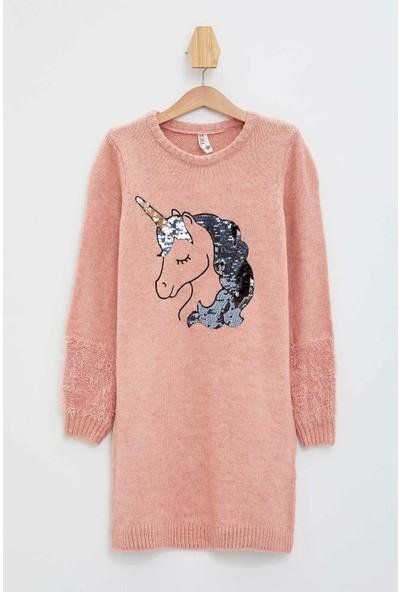 Defacto Kız Çocuk Unicorn Baskılı Uzun Kollu Elbise