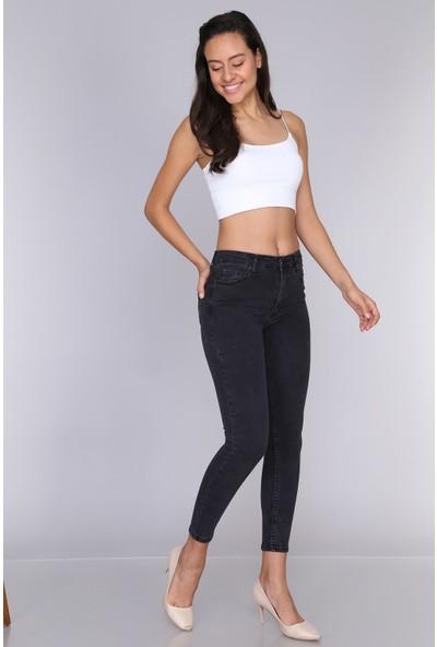 Misocial Kadın Dar Paça Basic Yüksek Bel Kot Pantolon