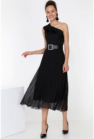 Ewa Moda Kadın Çapraz Yaka Piliseli Elbise Siyah