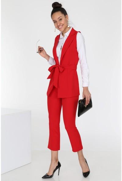 Ewa Moda Kadın Atlas Yelek Pantolon Takım Kırmızı