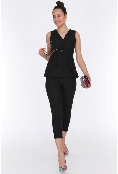 Ewa Moda Kadın Cep Detay Yelek Pantolon Takım Siyah
