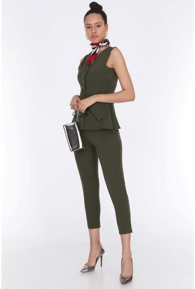 Ewa Moda Kadın Cep Detay Yelek Pantolon Takım Haki