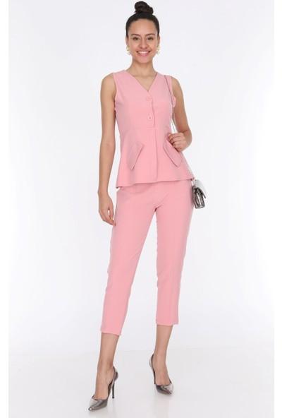 Ewa Moda Kadın Cep Detay Yelek Pantolon Takım Pudra