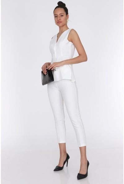 Ewa Moda Kadın Cep Detay Yelek Pantolon Takım Ekru