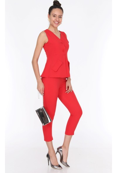 Ewa Moda Kadın Cep Detay Yelek Pantolon Takım Kırmızı