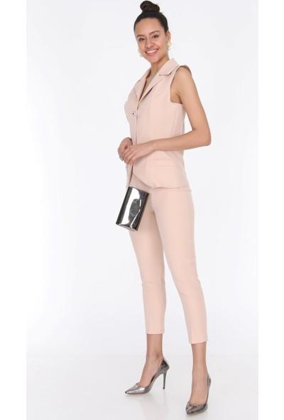 Ewa Moda Kadın Yelek Pile Pantolon Takım Bej