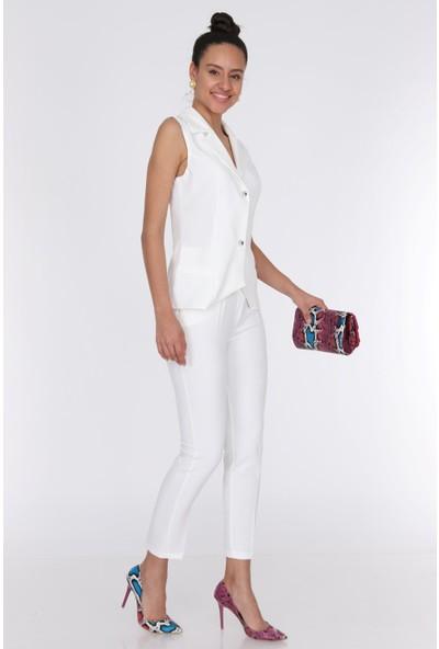 Ewa Moda Kadın Yelek Pile Pantolon Takım Ekru