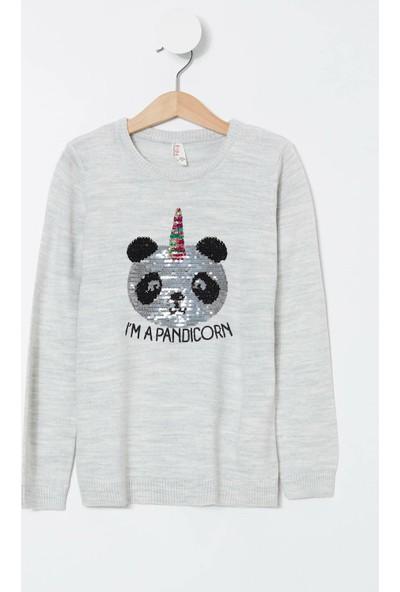 Defacto Kız Çocuk Payetli Panda Baskılı Kazak