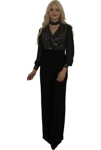 Arda New Line Kadın Siyah-Gümüs Tulum 6501032-12.257