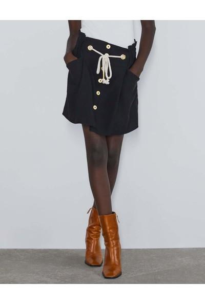 Coten Concept Kadın Paperbag Önden Düğmeli Mini Etek