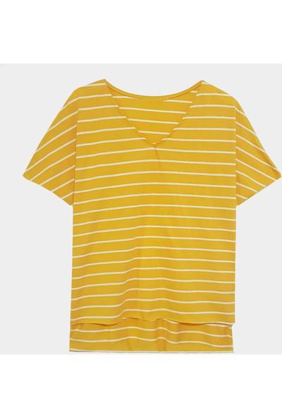 Coten Concept Kadın Çizgili V Yaka T-Shirt