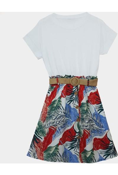Coten Concept Kadın Kısa Kollu Hasır Kemerli Elbise