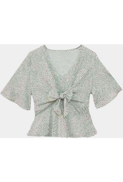 Coten Concept Kadın Önden Bağlamalı Desenli Bluz