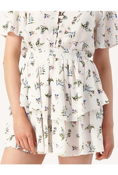 Coten Concept Kadın Çiçekli Pilili Mini Etek