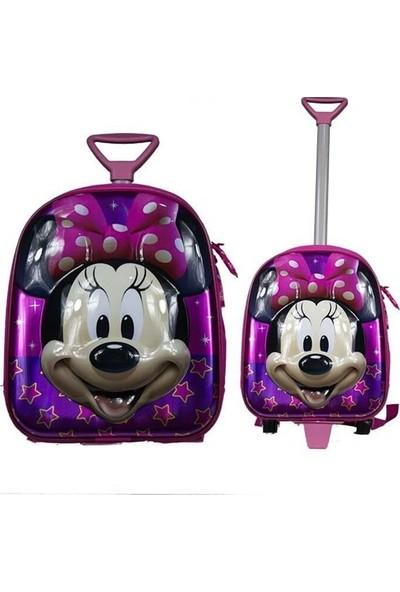 Bebebebek Mickey Mouse Çekçekli Kabartmalı Okul Çantası