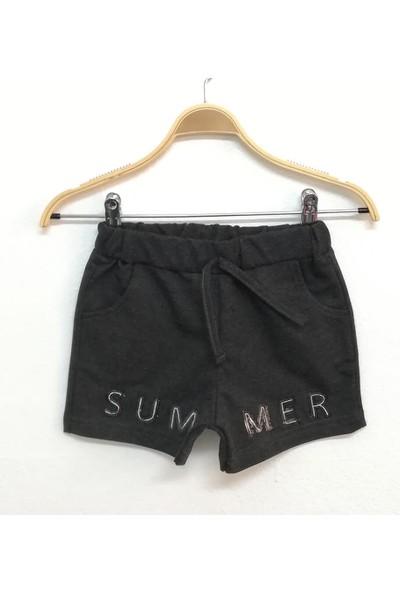 Toontoy Kız Çocuk Summer Pullu Nakışlı Şort Antrasit Melanj 4 Yaş K-291