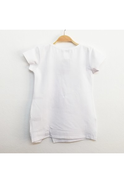 Toontoy Kız Çocuk Star Baskı T-Shirt Beyaz 8 Yaş K-269