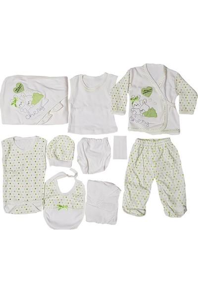 Webombinoo Yeşil Kız - Erkek Bebek Tavşanlı 11 Li Hastane Çıkışı Seti 0-3 Ay