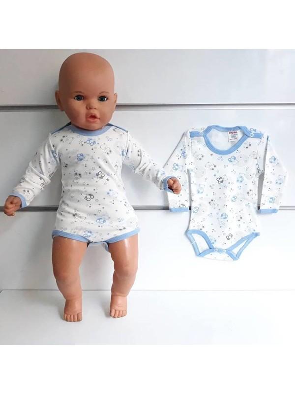 Bebegen Mavi Biyeli Ayıcıklı Uzun Kollu Omuzdan Ve Alttan Çıt-Çıtlı Bebek Body Zıbın