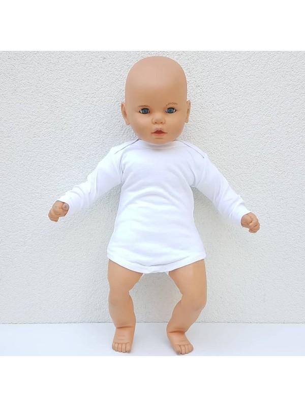 Bebegen Beyaz Sade Uzun Kollu Alttan Çıt-Çıtlı Body Zıbın