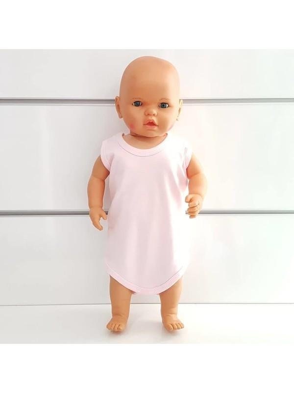 Bebegen Pembe Sade Alttan Çıt-Çıtlı Askılı Body Zıbın