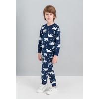 Roly Poly White Bear Lacivert Erkek Çocuk Polar Pijama Takımı
