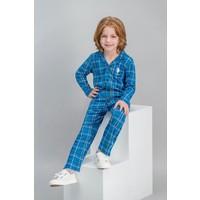 U.S. Polo Assn Lisanslı Ekose Saks Erkek Çocuk Gömlek Pijama