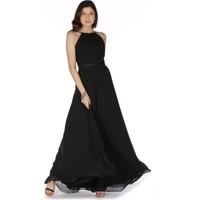 6Ixty8Ight Siyah Saten Bantlı Uzun Abiye Elbise