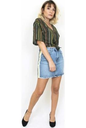 Bukika Kadın Mini Jean Yanı Sarı Şeritli Likralı Etek