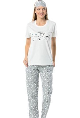 Pijama Evi Beyaz Kedi Desenli Kısa Kollu Kadın Pijama Takımı