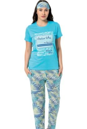 Pijama Evi Positive Vibes Desenli Kısa Kollu Kadın Pijama Takımı