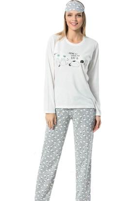 Pijama Evi Beyaz Kedi Desenli Uzun Kollu Kadın Pijama Takımı