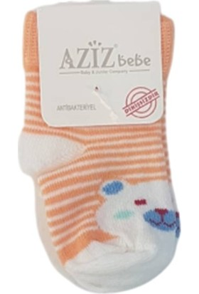 Aziz Bebe C35264 Erkek Bebek Çizgili Ayıcık Dikişsiz Çorap