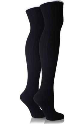 Brogetti Siyah Dizüstü Çorap Siyah Sandy