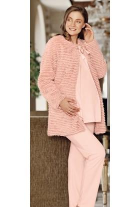 Fantasy 1003 Reyna Pelüş Kadın Sabahlıklı Hamile Lohusa 3'lü Pijama Takımı