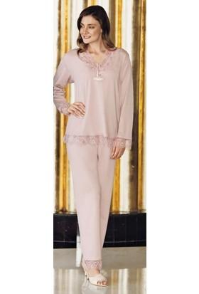 Fantasy 1007 Kadın Uzun Kollu Kristal Çiçek Dantel Büyük Beden Pijama Takımı