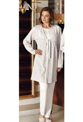 Fantasy 1019 Kadın Sabahlıklı Uzun Kollu Pijama Takımı