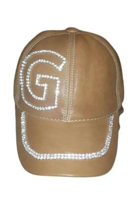 Hopgüm Kişiye Özel El İşlemeli Taşlı Kadın Deri Şapka