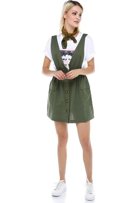 Manche Haki Salopet Elbise | MK19S283210