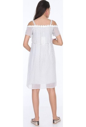 Görsin Puantiye Hamile Şifon Elbise