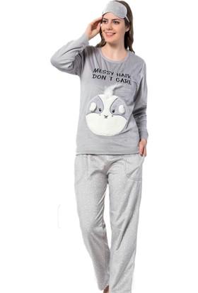 Pijama Evi Messy Hair Desenli Kadın Yumoş Peluş Pijama Takımı