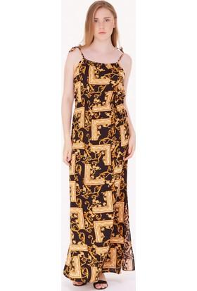 FullaModa Kadın Desenli Uzun Elbise