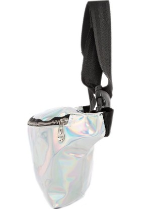 Bagmori Gümüş Hologram Fermuarlı Bel Çantası