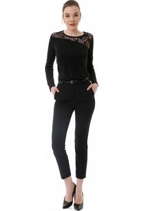 Sense Kadın Siyah Arkası Süs Cepli Likralı Kalem Pantolon Pnt17928