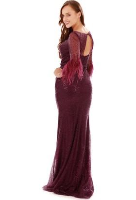 Carmen Mor Simli Kolları Tüylü Balık Abiye Elbise