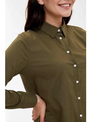 Defacto Basic Dokuma Poplin Gömlek Tunik M3397AZ19AU