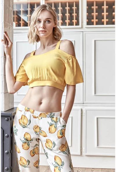 Anıl Kadın Sarı Omuz Dekolteli Floral Desenli Pijama Takımı 9596