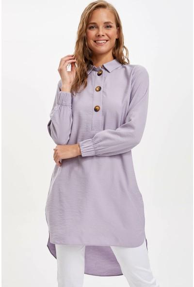 Defacto Kadın Gömlek Yakalı Relax Fit Tunik